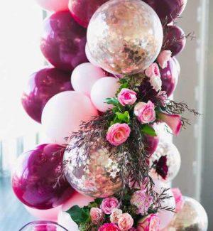 decoration fete avec arche ballon, colonne